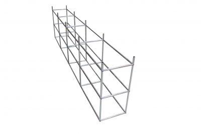 Schritt 2 im Aufbau eines USM Haller Sideboards. Die zwischenrohre des Sockels werden angebracht