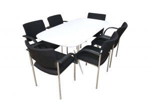 bene parcs Club Ttisch Weiss Vorderansicht mit Stühlen
