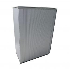 Bene Querrollo Highboard 3oh-80cm breit-komplett silber Eckansicht geschlossen