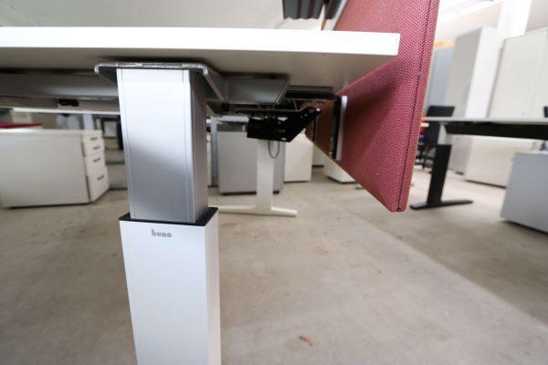 Bene Schreibtisch komplett weiss mit Trennwand Seitenasicht Gestell