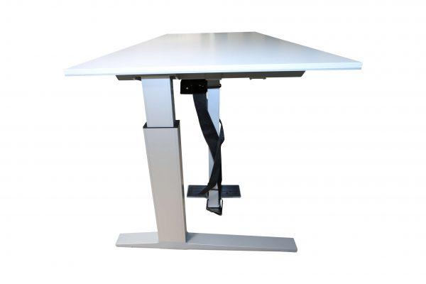 Bene Schreibtisch weiss mit grauer Kante silber Gestell seitlich