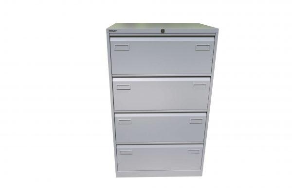 Bisley Metall-Hängeregisterschrank 4 Schubladen lichtgrau Frontalansicht
