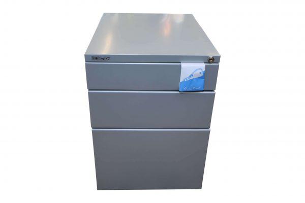 Bisley Rollcontainer silber Neumöbel mit hoher Schublade originalverpackt Frontalansicht