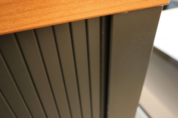 FM Büromöbel Highboard anthrazit Deckseite wählbar - kirschbaum kante