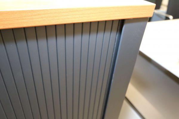 FM Büromöbel Highboard anthrazit Deckseite wählbar - kirschbaum Querrollo