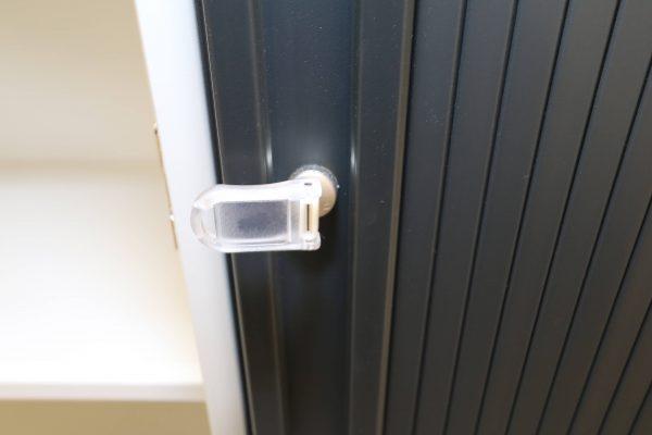 FM Büromöbel Highboard anthrazit Deckseite wählbar - Schlüssel