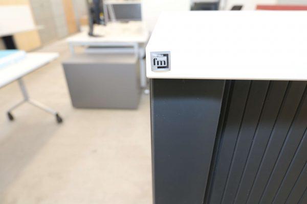 FM Büromöbel Highboard anthrazit Deckseite wählbar - weiß Logo