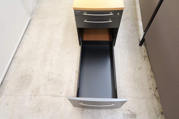 Gesika Rollcontainer Anthrazit mit Buche Deckseite mit hoher Schublade Detailansicht