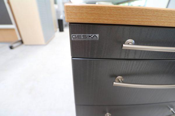 Gesika Rollcontainer Anthrazit mit Buche Deckseite Logo