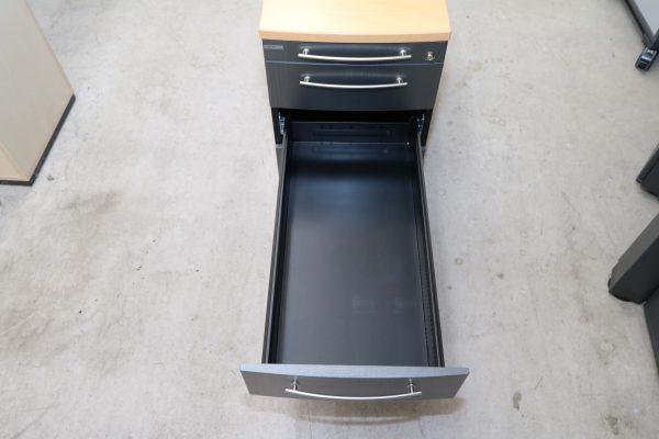 Gesika Rollcontainer Anthrazit mit Buche Deckseite mitlere Schublade