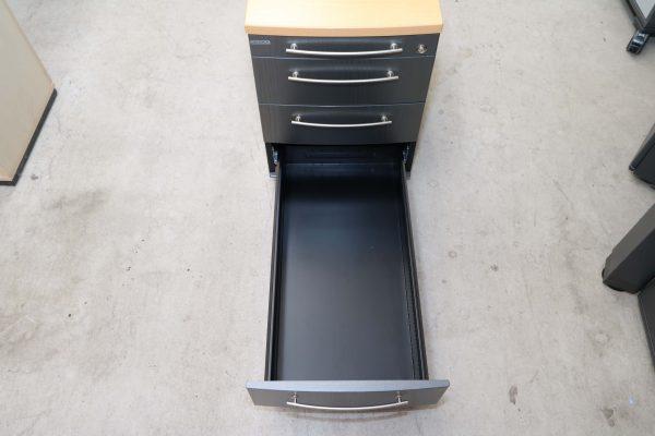 Gesika Rollcontainer Anthrazit mit Buche Deckseite untere Schublade