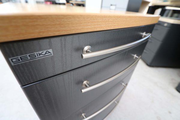 Gesika Rollcontainer Anthrazit mit Buche Deckseite Detailansicht