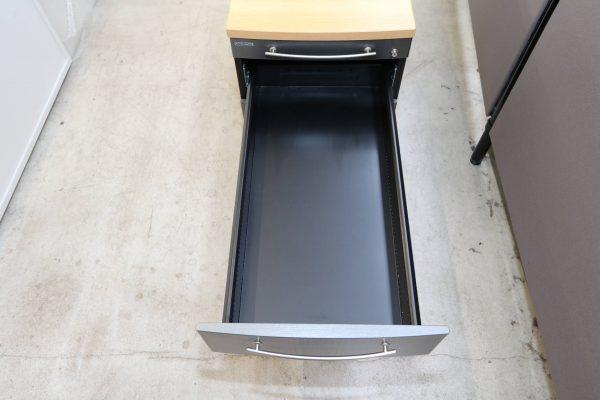 Gesika Rollcontainer Anthrazit mit Buche Deckseite mit hoher Schublade mittlere Schublade