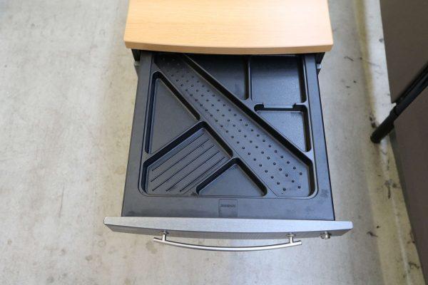 Gesika Rollcontainer Anthrazit mit Buche Deckseite mit hoher Schublade Stiftschublade