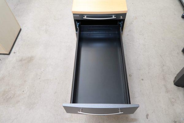 Gesika Rollcontainer Anthrazit mit Buche Deckseite obere Schublade