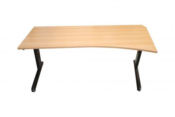 Schreibtisch Anthrazit mit Buche Tischplatte Frontalansicht