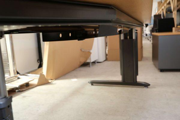 Schreibtisch Anthrazit mit Buche Tischplatte Gestell rechtsseitig