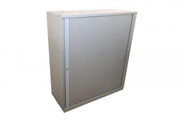 Gesika Sideboard mit Akustikquerrollo grau 3 OH freigestellt