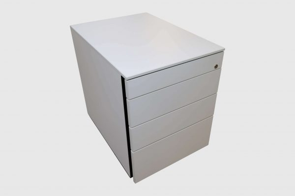 Hali Rollcontainer weiß kurze Version mit Schubladen Schrägansicht