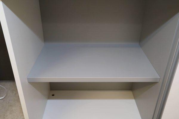 Hali Sideboard weiß schwarze Kante 2OH 120 cm linke Seite geöffnet
