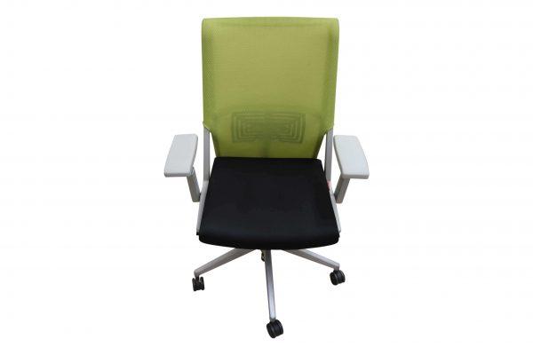 Haworth Comforto 59 Drehstuhl mit Netzrücken schwarz grün Vorderansicht