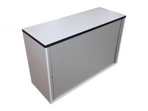 Haworth Sideboard 2OH weiß-silbergrau verschiedene Breiten Schrägansicht geschlossen