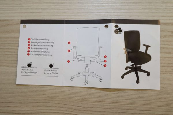 ib Business - ergonomischer Bürostuhl mit schwarzem Stuhlkreuz Produktblatt offen