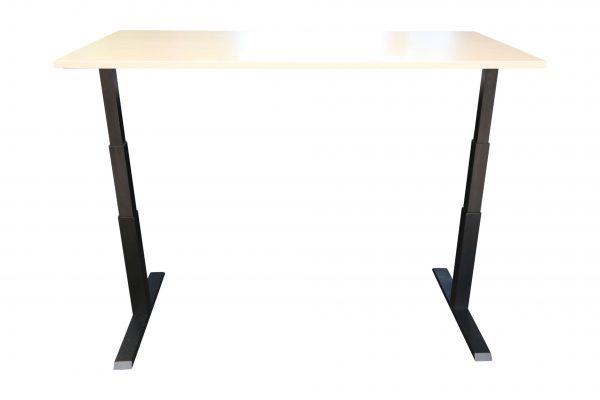 ib Lift elektrisch höhenverstellbarer Tisch hochgefahren Ahorndekor Frontalansicht