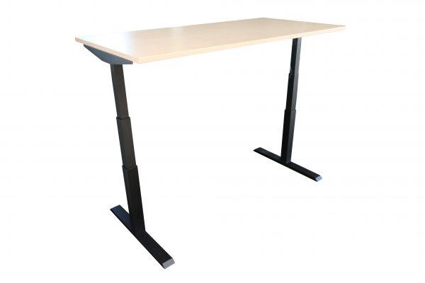 ib Lift elektrisch höhenverstellbarer Tisch hochgefahren Ahorndekor Schrägansicht