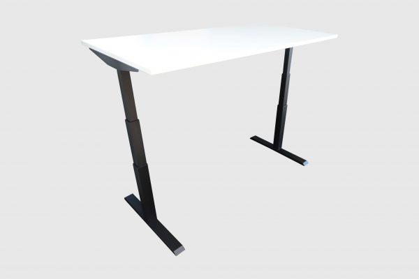 ib Lift elektrisch höhenverstellbarer Tisch hochgefahren Lichtgrau Schrägansicht