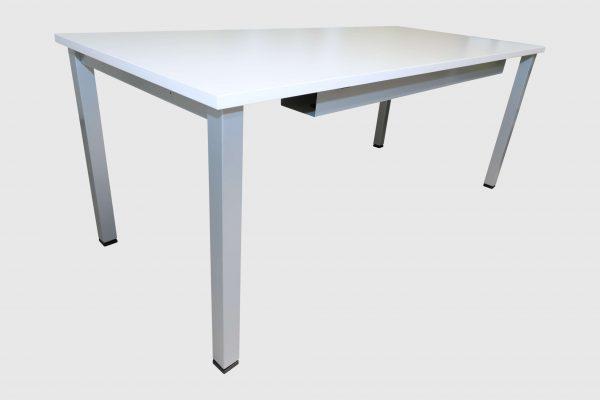 ib Multisize Rechtecktisch Weiß mit quadratischen Tischbein seitliche Ansicht