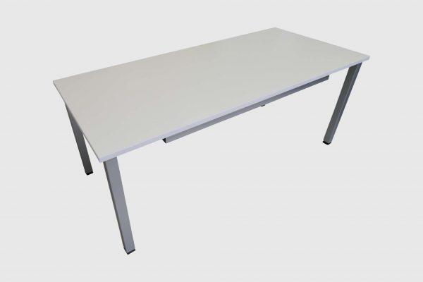 ib Multisize Rechtecktisch Weiß mit quadratischen Tischbein leicht schräge Ansicht