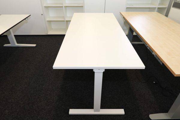 ib Multisize Weiß 180x80 cm elektrisch höhenverstellbarer Tisch Seitenansicht heruntergefahren