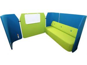 Kinnarps Fields Sofa Loungsmöbel in grün blau Vollansicht