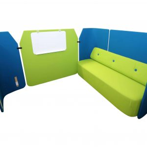 Kinnarps Fields Sofa Loungsmöbel in grün blau Vollansicht