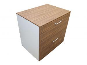 König & Neurath Hängeregister-Sideboard Nussbaum Weiß 2OH Schrägansicht