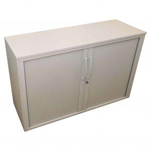 Middel Büromöbel Querrollo Sideboard 2OH weißgrau Schrägansicht