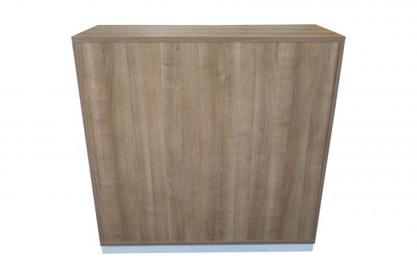 Oka Querrollo-Sideboard Nussbaum weiß in verschiedenen Größen Schrägaufnahme Rückseitenaufnahme