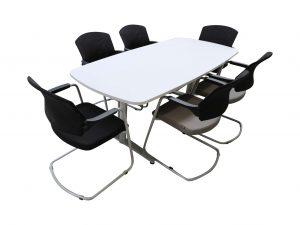 Palmberg Caldo Konferenztisch lichtgrau in Fassform mit Stühlen