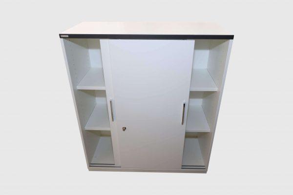Palmberg Prisma 2 Highboard weiß schwarze Kante 3 OH in 2 Ausführungen beidseits geöffnet