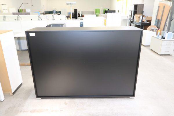 Palmberg Schiebetüren Sideboard mit weißer Glastür in schwarz Rückansiciht