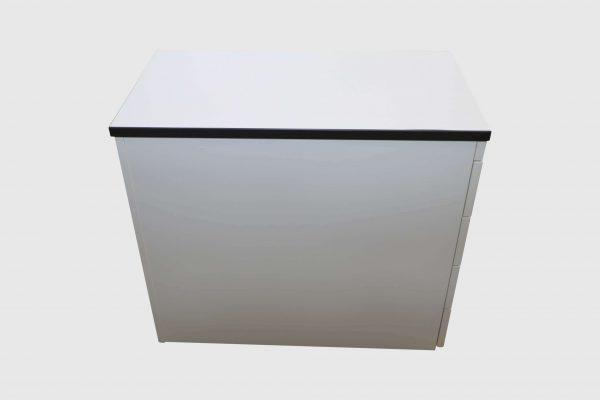 Palmberg Standcontainer weiß mit schwarzer Kante Seitenansicht