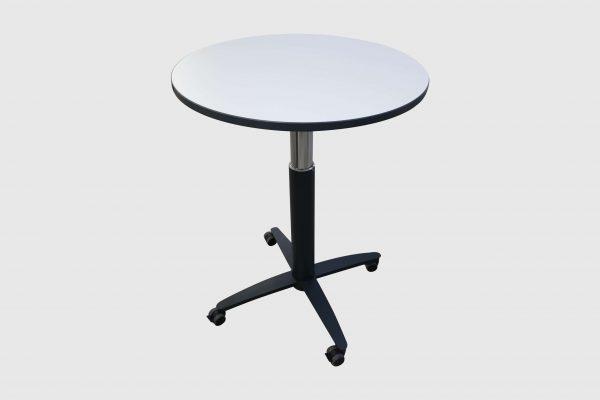Palmberg Steh-Sitz-Tisch weiß schwarze Kante - hydraulisch höhenverstellbar Frontalansicht