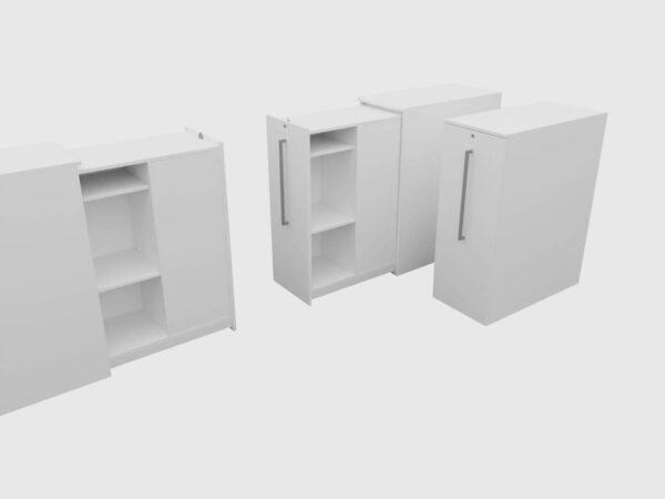 Sedus Apothekerschrank Hochcontainer weiß doppelseitig Innenansicht