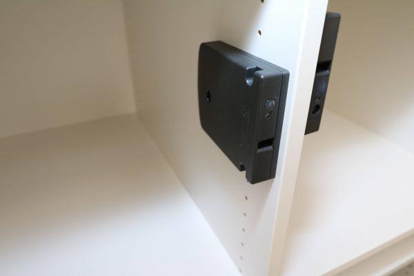 Sedus elektronisches Schließfachsystem Weiss Eiche mit elektronischen Schlüssel Detail Empfänger