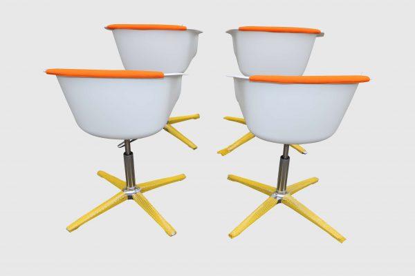 Sedus On Spot weiß-grau-orange Besprechungsstuhl vier Stück im Paket Rückansicht