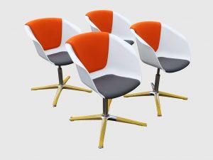 Sedus On Spot weiß-grau-orange Besprechungsstuhl vier Stück im Paket Schrägansicht