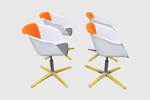 Sedus On Spot weiß-grau-orange Besprechungsstuhl vier Stück im Paket Seitenansicht