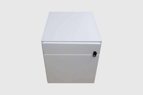 Sedus Rollcontainer Mustermöbel weiß Metall Frontalansicht