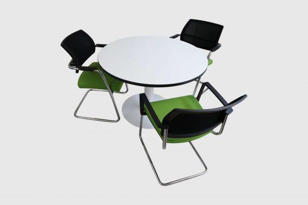 Sedus runder Tisch weiß mit schwarzer Kante Mustermöbel Stellmöglichkeit